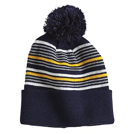 Sportsman Cap Striped Pom-Pom